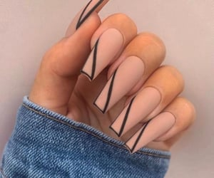 acrylics, black, and nail inspo image