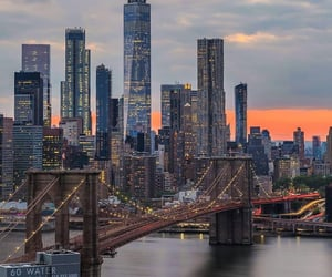 cities, new york city, and sunset image