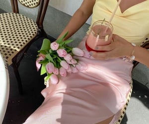 flowers, drink, and fashion image