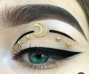eye, makeup, and moon image