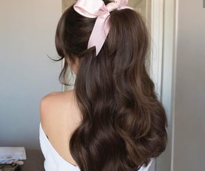 pink bow, ponytail, and soft image