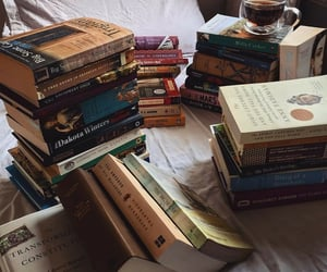 bed, reading, and bibliophile image