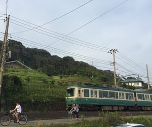 aesthetic, green, and train image
