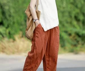 womens linen pants, linen harem pants, and linen turnip pants image