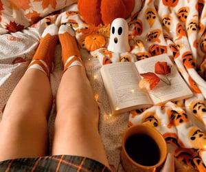 books, orange, and otoño image