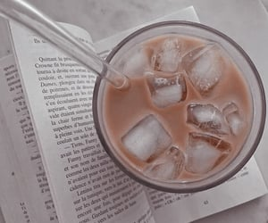 book, details, and iced coffee image