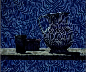 art, blue, and pitcher image