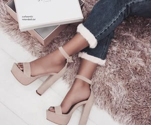 high heels, shoes, and jeans image