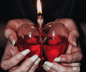 fire, heart, and red image