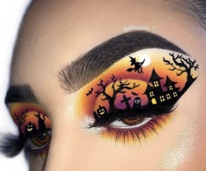 bats, beauty, and halloween makeup image