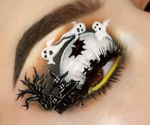 beauty, ghosts, and halloween makeup image