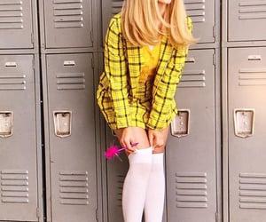 yellow, white stockings, and white cute heels image