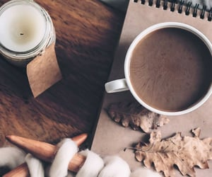 brown, candle, and coffee image