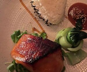 dinner, salmon, and food image