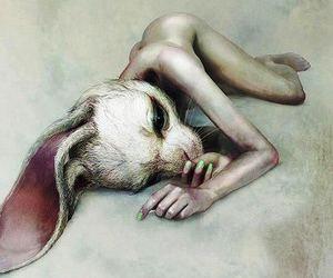 depressed, depression, and rabbit image