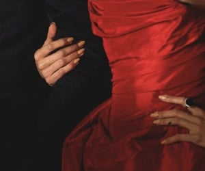aesthetic, couple, and red dress image