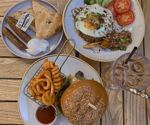 burger, cafe, and eggs image