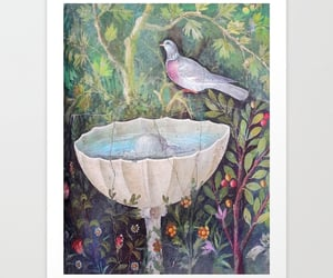 fountain, pigeon, and vintage art image