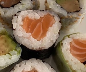 food, sushi, and rice image