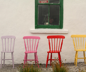 chairs, white, and pink image