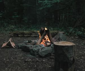 camp, firepit, and campfire image