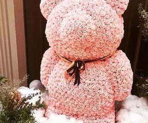 teddy bear, flowers bear, and pink colour bear image