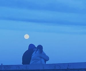 blue, couple, and full moon image
