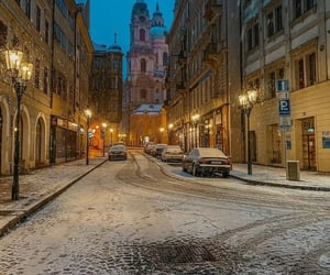 cities, snow, and city image
