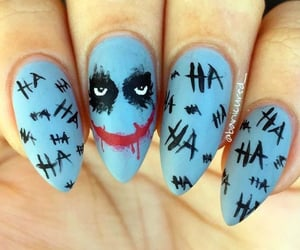 acrylics, halloween nails, and joker image