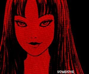 junji ito, manga girl, and red image