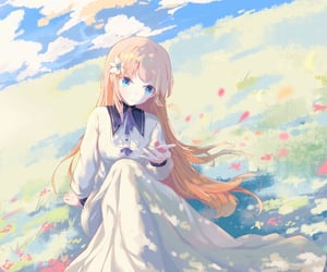 cloud, girl, and nature image