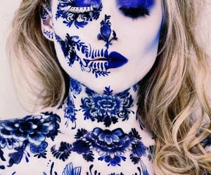blue, makeup, and costume image