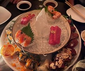 dinner, sashimi, and food image