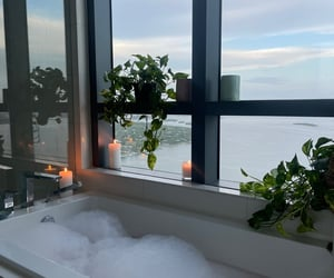 bubble bath, plants, and candles image