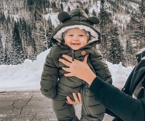 adorable, snow, and baby image