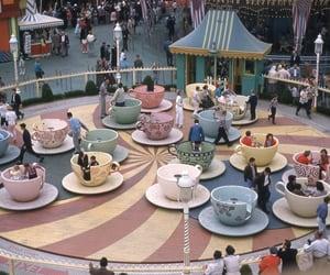 mad tea party, vintage disney, and vintage disneyland image