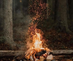 autumn, camping, and fireplace image