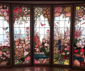art, flowers, and stained glass image