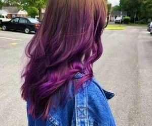 brown hair, purple, and hair image