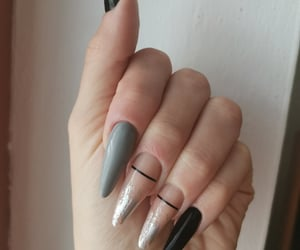 black, almond nails, and grey image