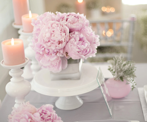 candles, romantic, and flowers image
