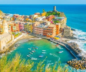 cinque terre, hiking, and pastel image