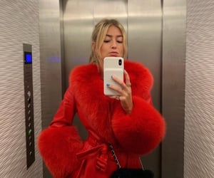blonde, red, and red coat image
