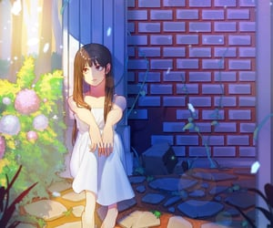 sunlight, girl, and purple image