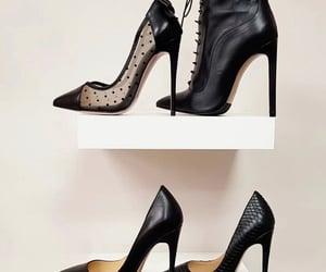 black, black boots, and black heels image