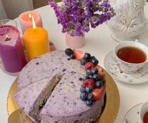 cake, flowers, and tea image