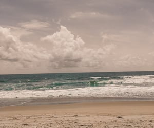 beach, cloudy, and footprints image