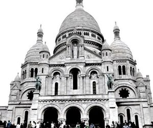 black and white, paris, and church image