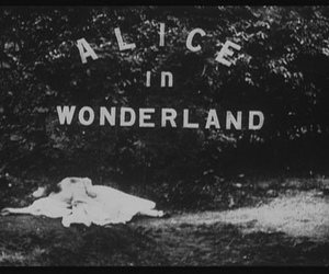 alice in wonderland, black and white, and movie image