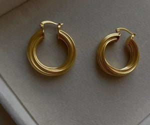 accessories, earrings, and gold image